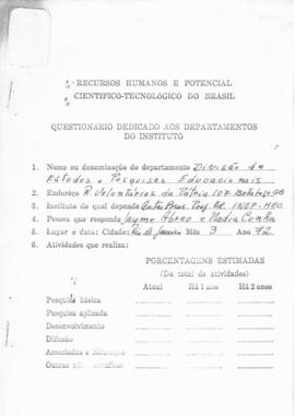 CBPE_m180p03 - Questionário Dedicado aos Departamentos do Instituto, 1972